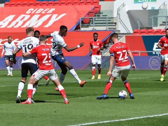 Elijah Adebayo sidefoots home Town's equaliser against Bristol City on Sunday - pic: Gareth Owen