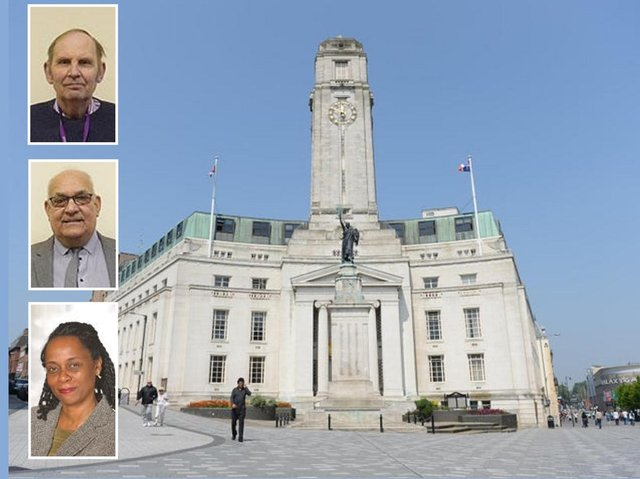 Luton Town Hall; (inset, from top to bottom) Cllrs Paul Castleman, Mahmood Hussain and Jacqui Burnett