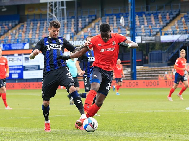 Elijah Adebayo in action against Middlesbrough this afternoon