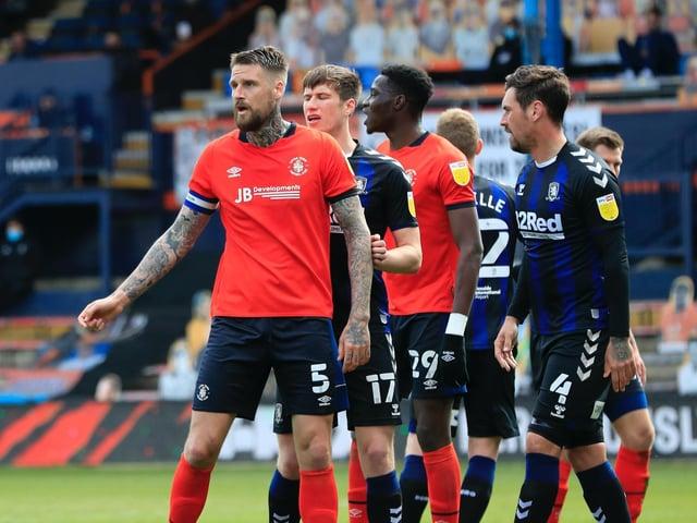 Hatters line-up for a corner against Middlesbrough