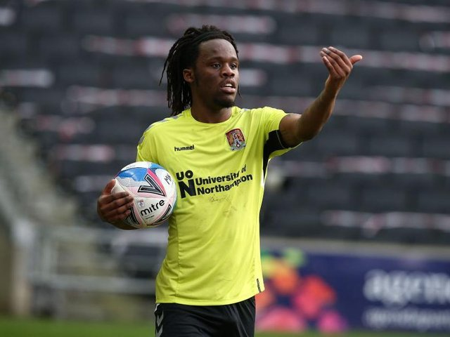 Town defender Peter Kioso during his loan spell with Northampton