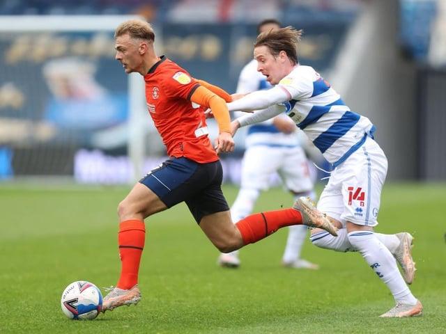 Kiernan Dewsbury-Hall tries to break clear from his marker at QPR on Saturday