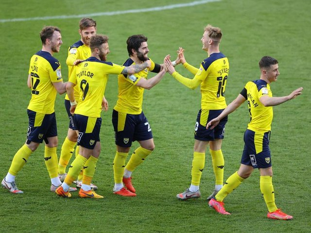 Elliot Lee celebrates a goal for Oxford United