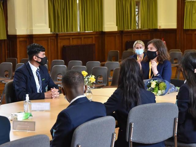 Dame Rachel de Souza talks to Denbigh High School pupils about their lockdown experiences