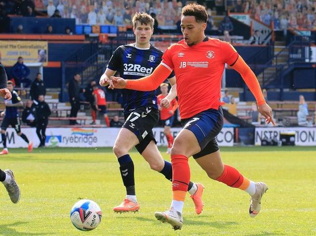 Luton striker Sam Nombe in action against Middlesbrough recently