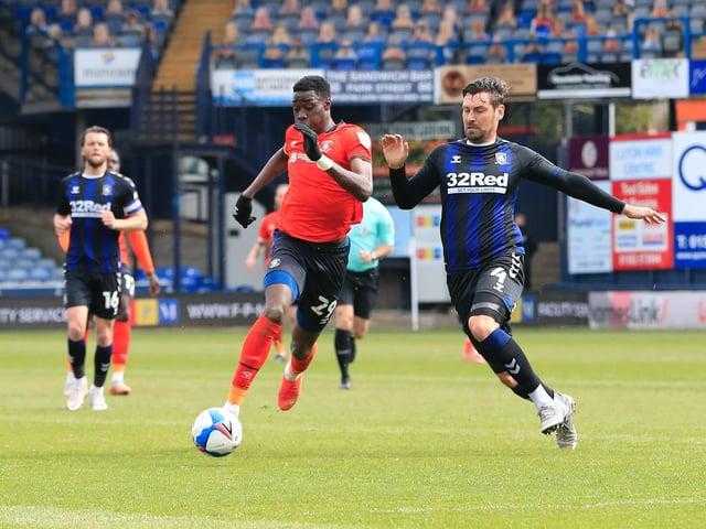 Town striker Elijah Adebayo in action