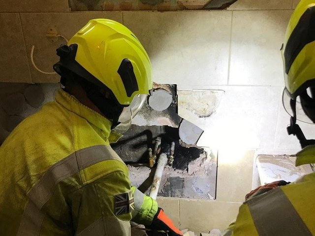 The cat was rescued inside a cavity wall