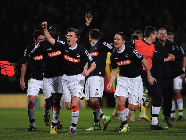 JJ O'Donnell celebrates Luton's FA Cup win at Norwich in 2013