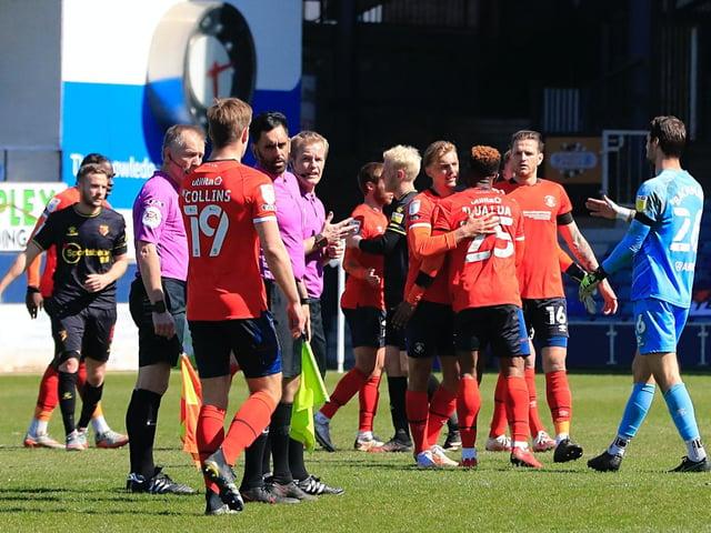 Luton players celebrate beating Watford at Kenilworth Road this season