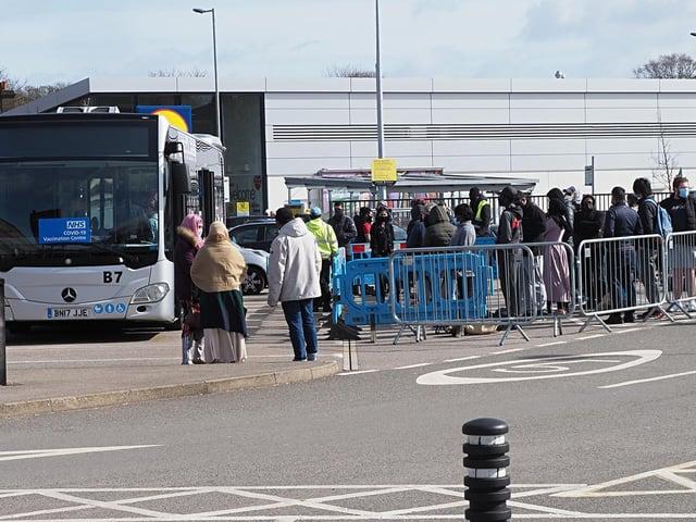 Mobile testing bus at Sainsbury's Bury Park. Photo: Tony Margiocchi