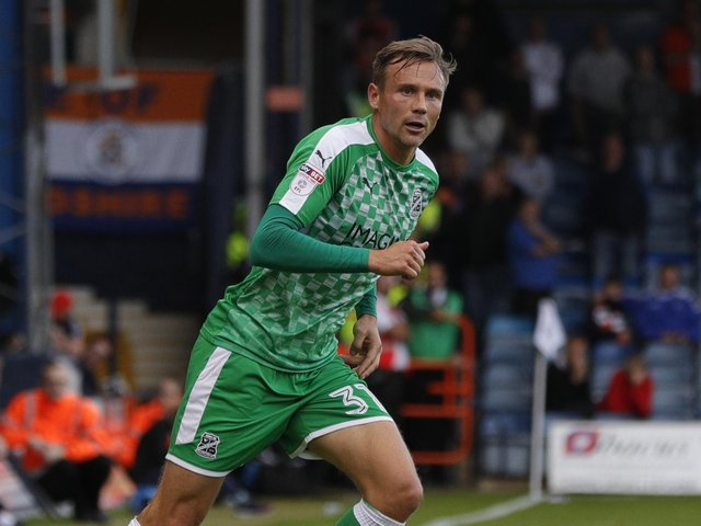 Former Hatter Matthew Taylor on his last visit to Kenilworth Road as a Swindon player in September 2017