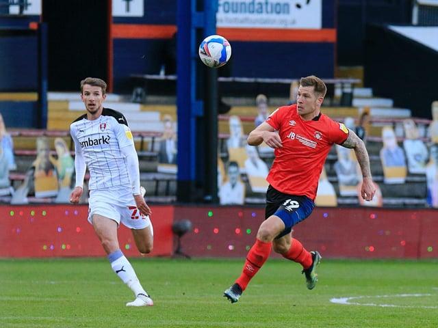 Striker James Collins in action for Luton last season