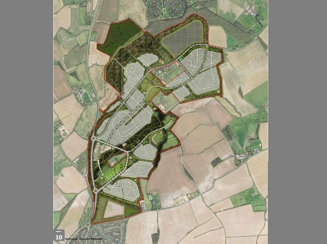 A map of the proposed development, showing Barton-le-Clay in the south west