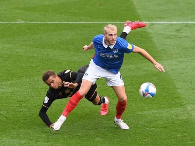 Defender Jack Whatmough in action for Portsmouth