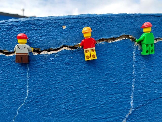 LEGO characters on the front wall at Southfield Primary School