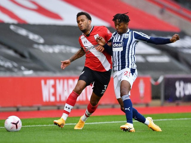 Kyle Edwards in action for West Bromwich Albion against Southampton this season