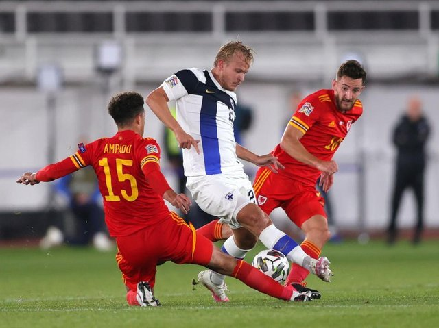 Town defender Tom Lockyer playing for Wales