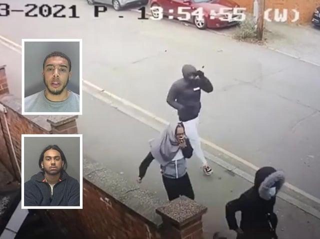 CCTV footage before the attack; Inset, Clayton Newton (top) and Jordan Jones (below)
