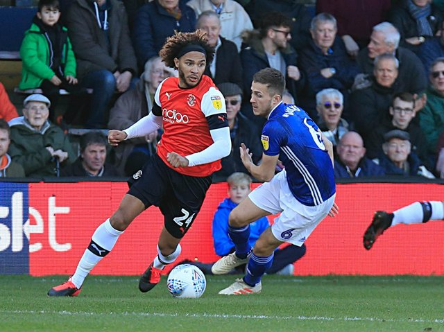 Izzy Brown during his loan spell for the Hatters