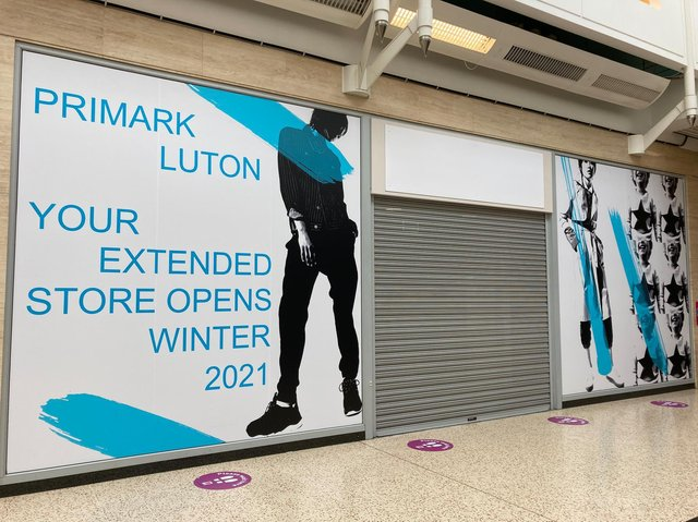 Primark will expand in Luton's The Mall, making use of the vacant unit next door.