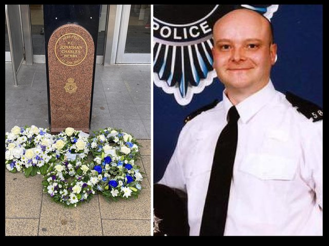 Wreaths were laid as the memorial in George Street (left) in memory of PC Jon Henry (right)