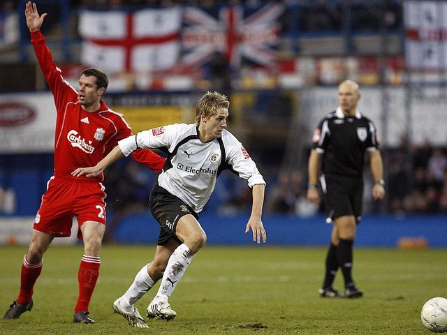 Former Luton midfielder Dave Edwards in action for the Hatters against Liverpool in January 2008