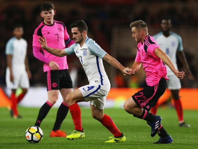 Allan Campbell in action for the Scotland U21s