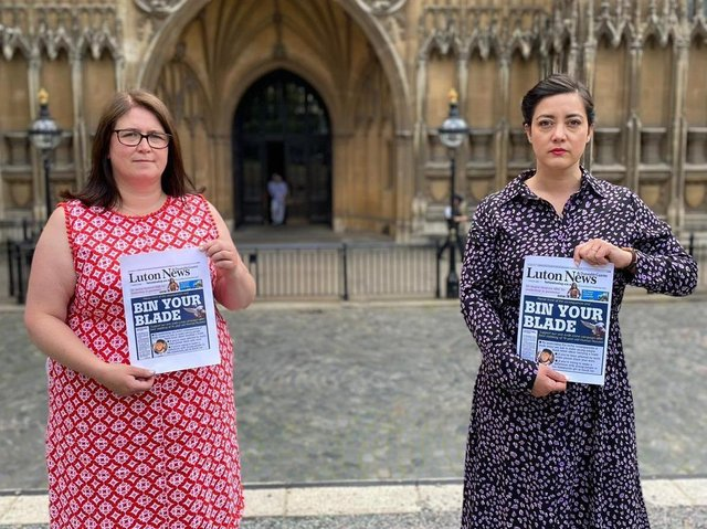Luton MPs Sarah Owen, right, and Rachel Hopkins show their support outside Parliament