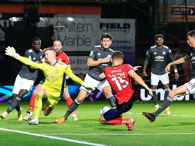 Tom Lockyer goes close for Luton in their Carabao Cup clash against Manchester United last season