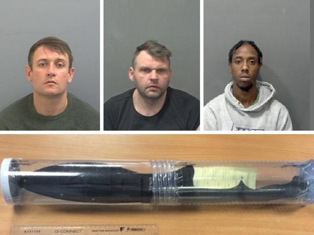 (Top) David Walpole, Grant Melia and Micah Stoute; (bottom) the zombie knife used in the attack
