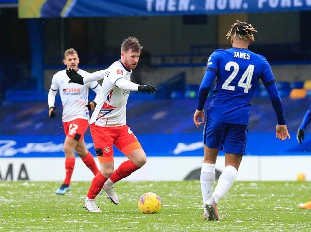 Ryan Tunnicliffe on the ball for Luton at Chelsea last season