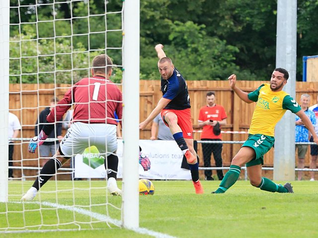 Allan Campbell goes close for the Hatters during Saturday's 7-0 win over Hitchin