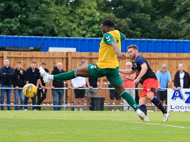 Jordan Clark fires home his second against Hitchin on Saturday