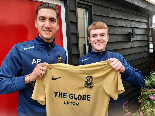 Globe FC manager Aaron Pearson (left) and team captain Callum Lee (right)
