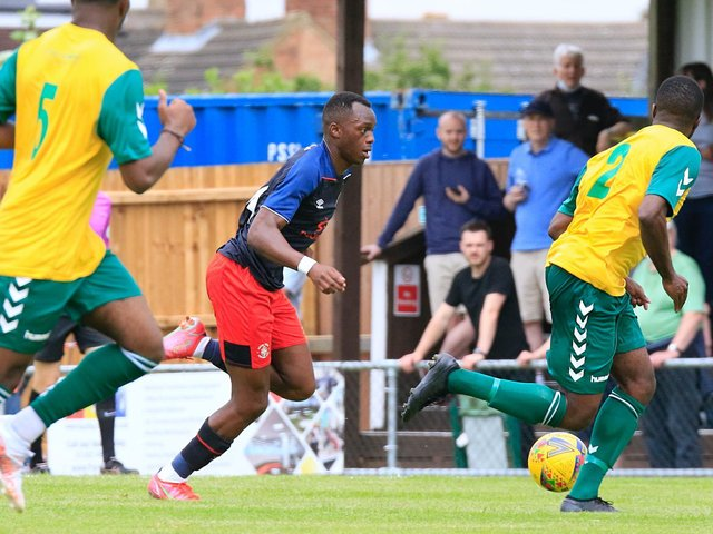 Carlos Mendes Gomes gets forward against Hitchin Town on Saturday