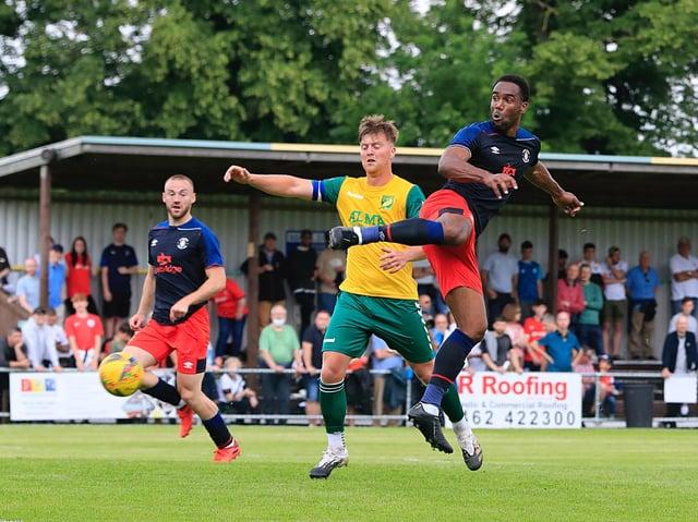 Cameron Jerome flicks goalwards against Hitchin on Saturday