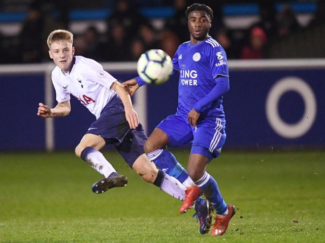 Leicester City's Khanya Leshabela in action for the Foxes