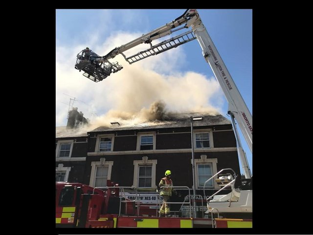 The blaze in Park Street yesterday    (C: Beds Fire and Rescue Service)