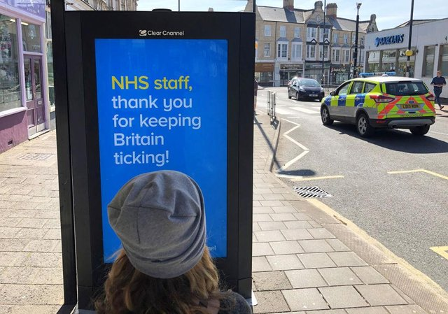 A sign in a bus shelter shows support for the NHS in Penarth, Wales (Photo: Stu Forster/Getty Images)